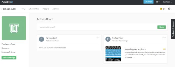 AdaptiveU user profile