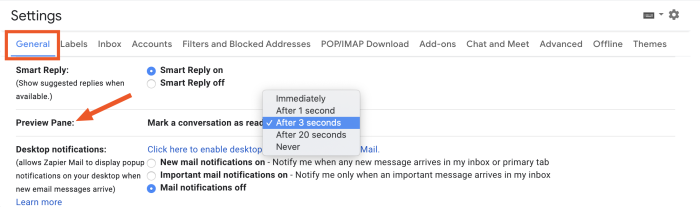 Select how long you want to hover on an email before it