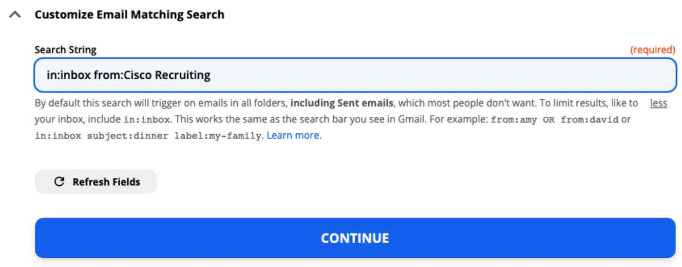 A screenshot of the customize Gmail step in the Zap editor. A Gmail search string is typed into a field labeled Search String.