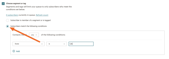 Select segment based on conditions