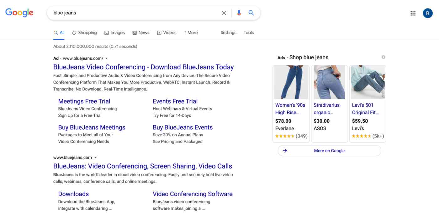 A screenshot of ads on a search engine results page