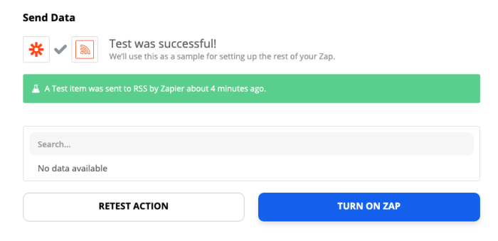 A screenshot of the Zap editor after the Zap has been tested with a success message.