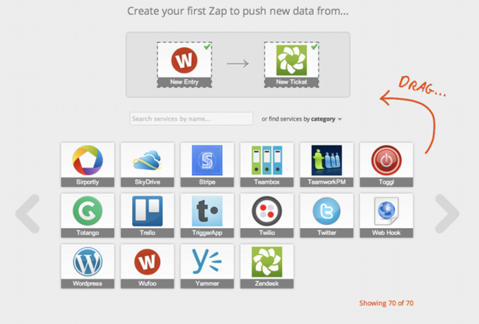 One of the early designs for Zapier