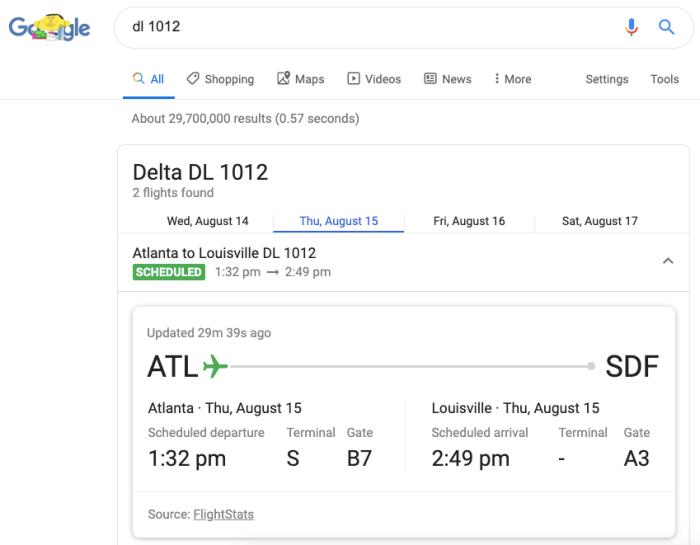 flight status in Google Search