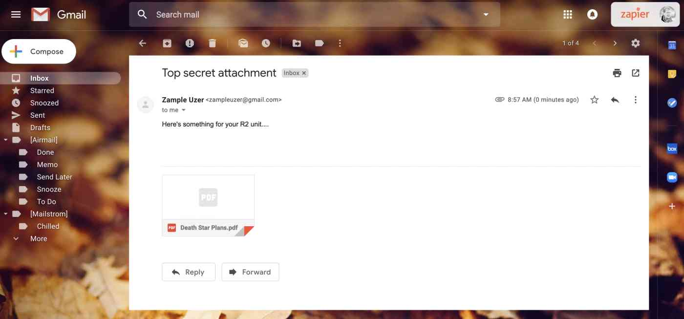An email with an attachment