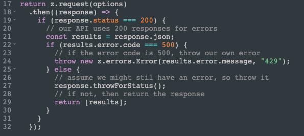 Code snippet for error handling
