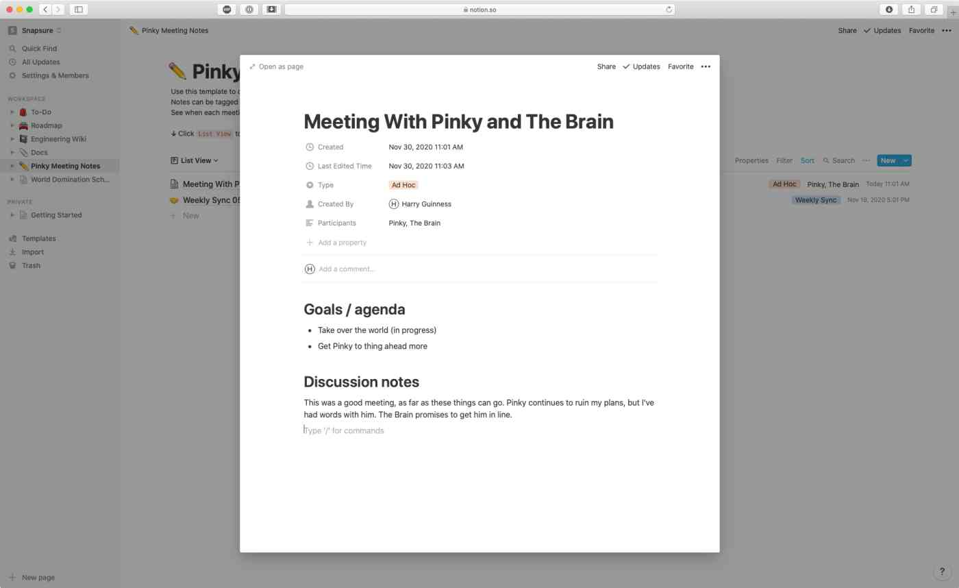 Notion app for taking notes as a team