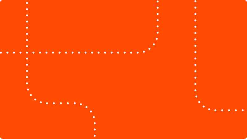 An orange rectangle with dotted white lines running through it.