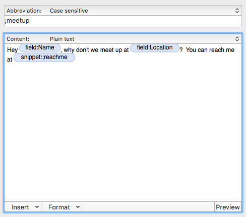 nested snippets textexpander
