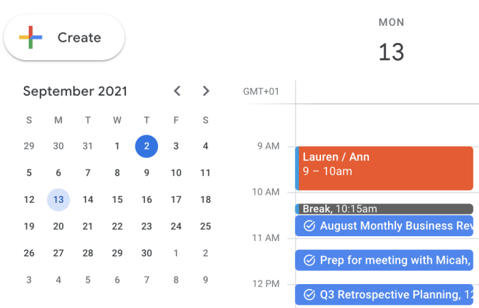 A screenshot of Lauren's Google Calendar showing the day's events in different colors, starting with a red hour-long meeting, followed by a gray break, and three blue slots for task work.