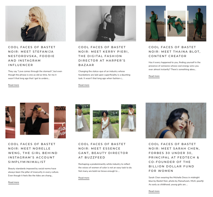 A screenshot of some of the blog posts from Bastet Noir's blog