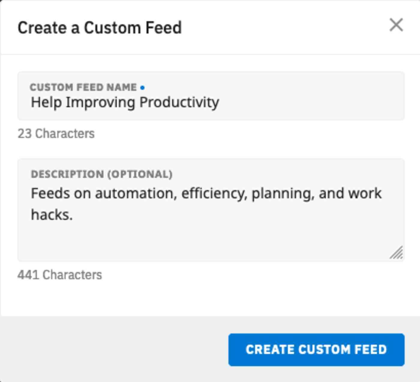 Describing custom feed