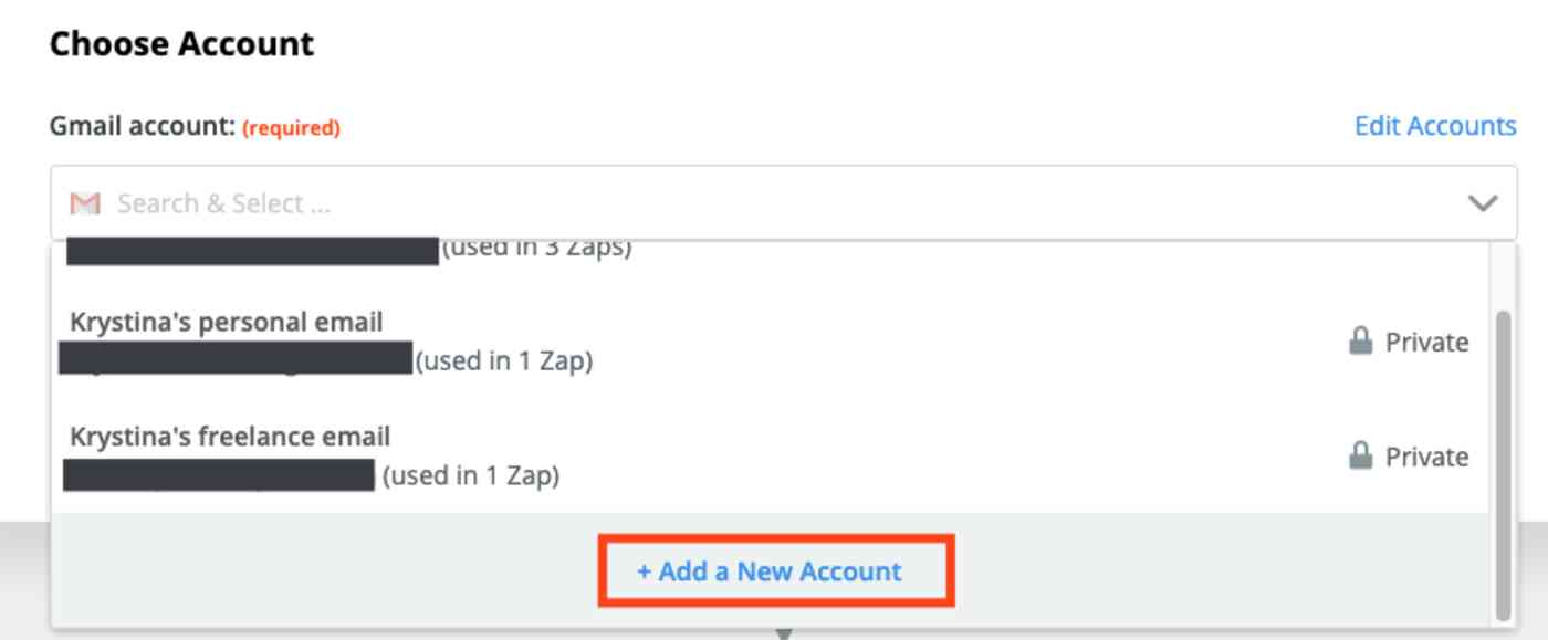 A screenshot of the trigger step in the Zap editor. A box highlights the Add a New Account link in the account picker dropdown menu.