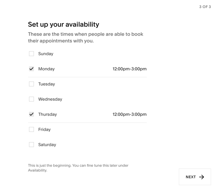 Setting up your availability in Acuity