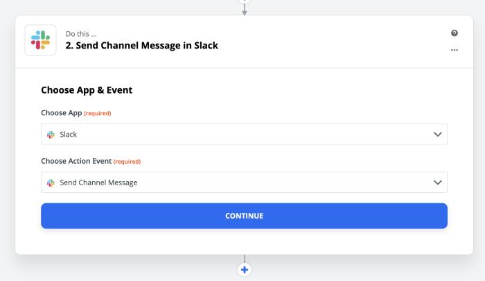 Slack Channel Message step