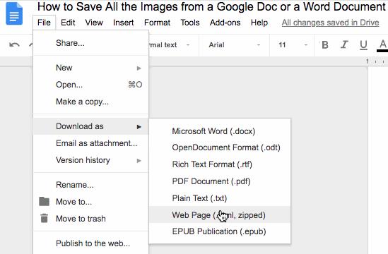 Descargar un documento de Google como página web