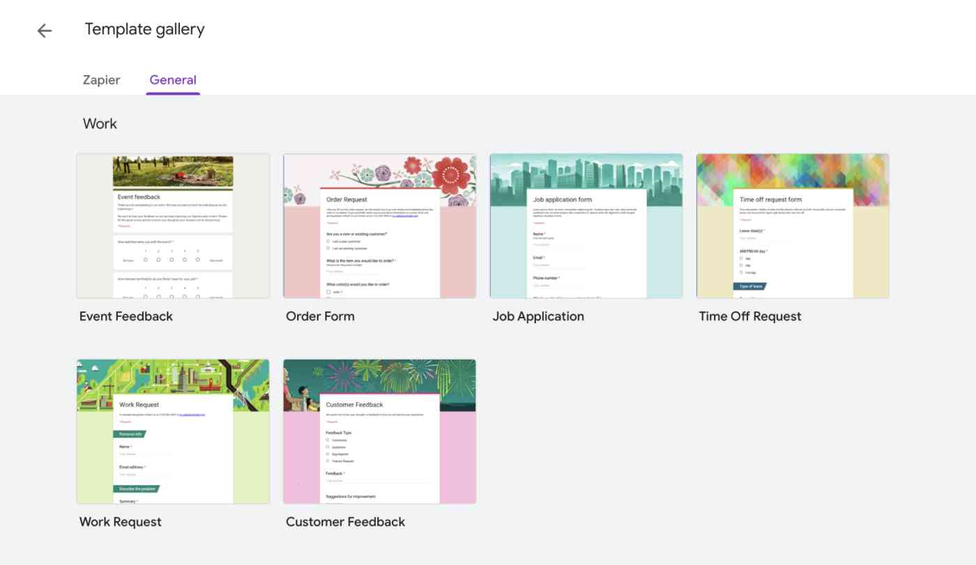Templates in Google Forms