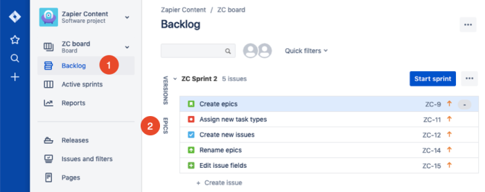 add issues to epics in Jira