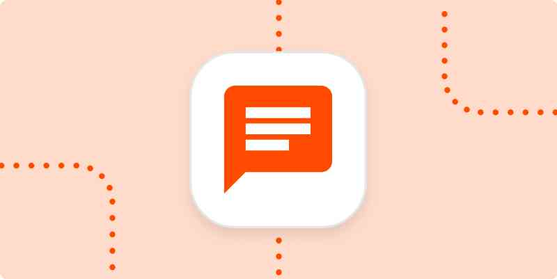 An icon representing a chat message in a white square on a pale orange background