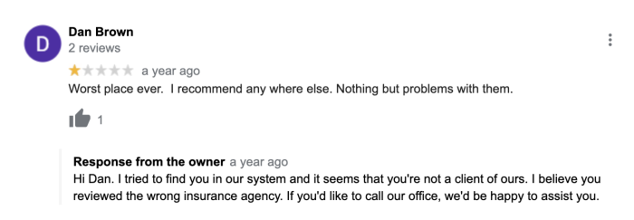 Example of a review for the wrong company, and the response
