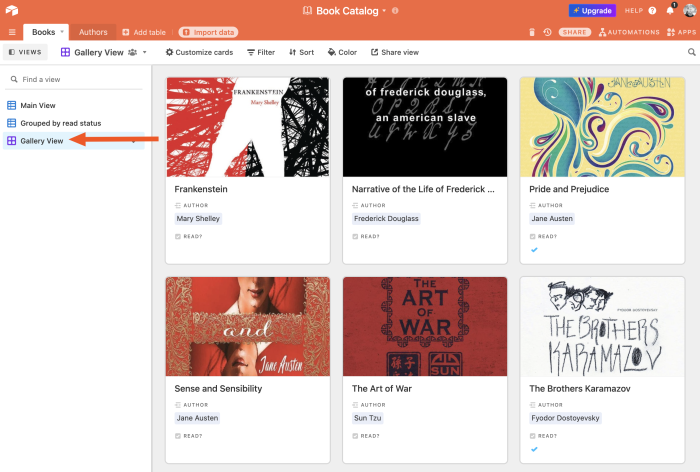 Gallery view in Airtable
