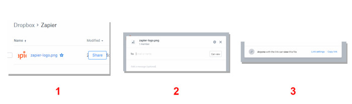 Create shareable link from Dropbox