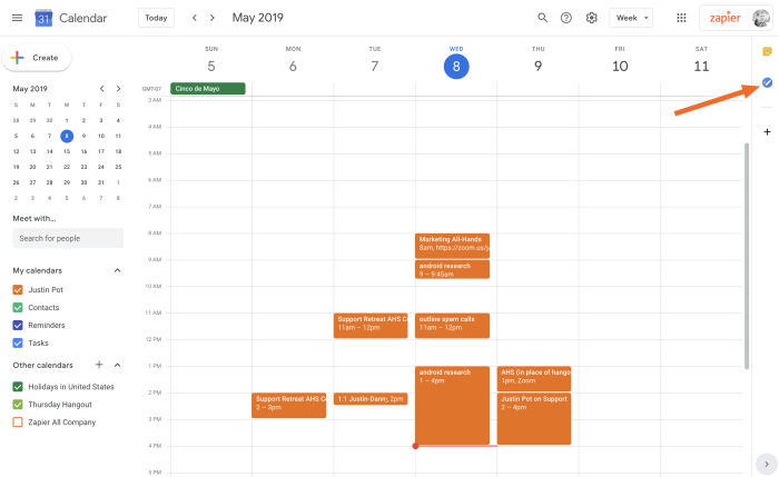 Google Tasks in Google Calendar
