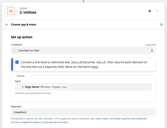 Action set-up: Utilities: Transform: Line-item to text