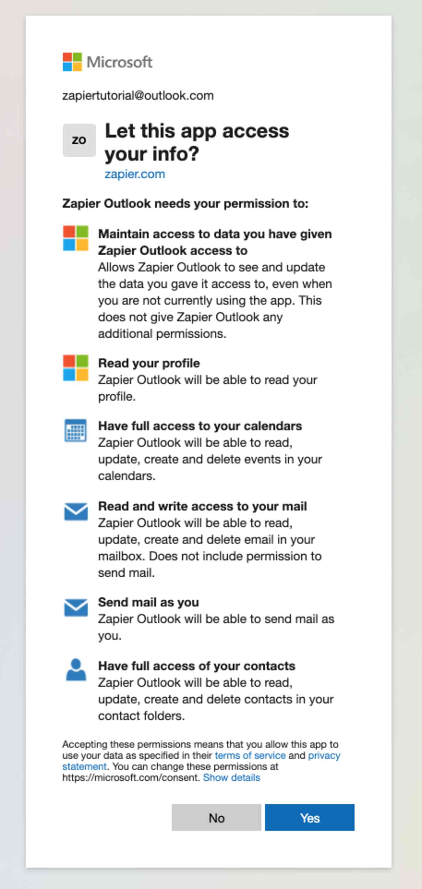 Microsoft checking to make sure you want to give Zapier access to your info.