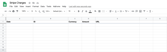 Setting up your Google Sheet to receive information from Stripe