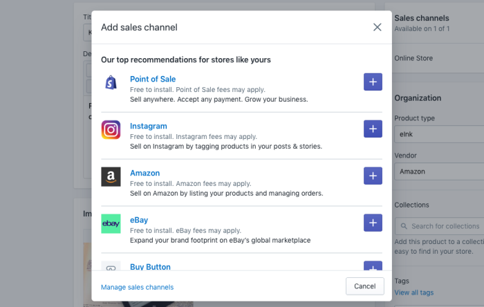 Add Shopify to Social