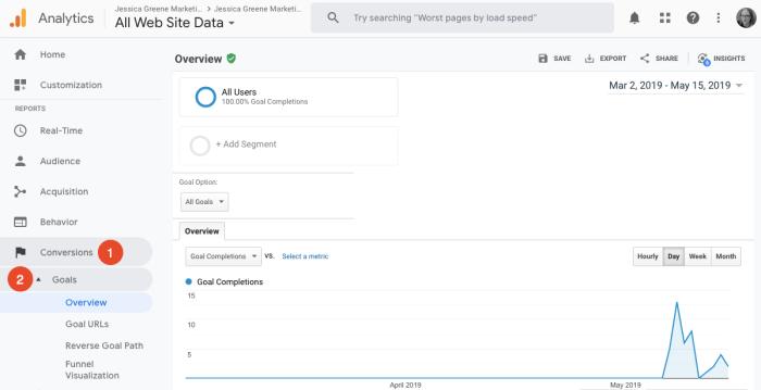 view google analytics goal reports