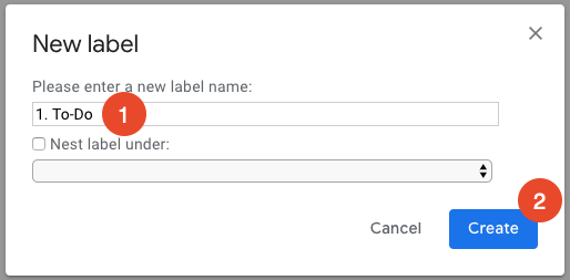 name a new Gmail label