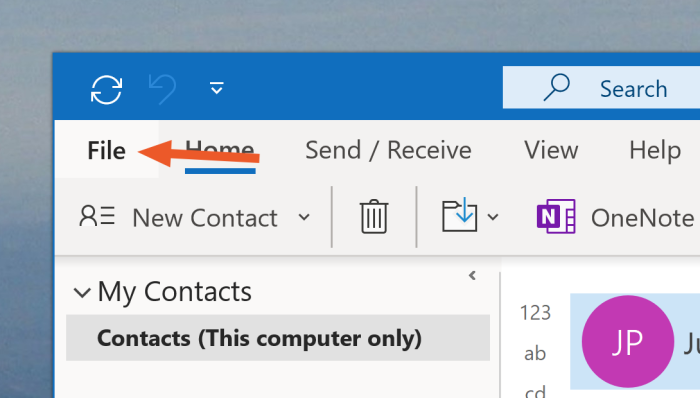 Clicking File in Outlook