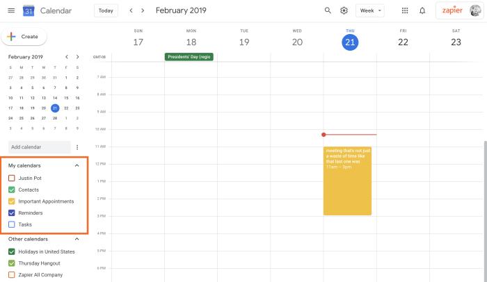 Your Google Calendar calendars