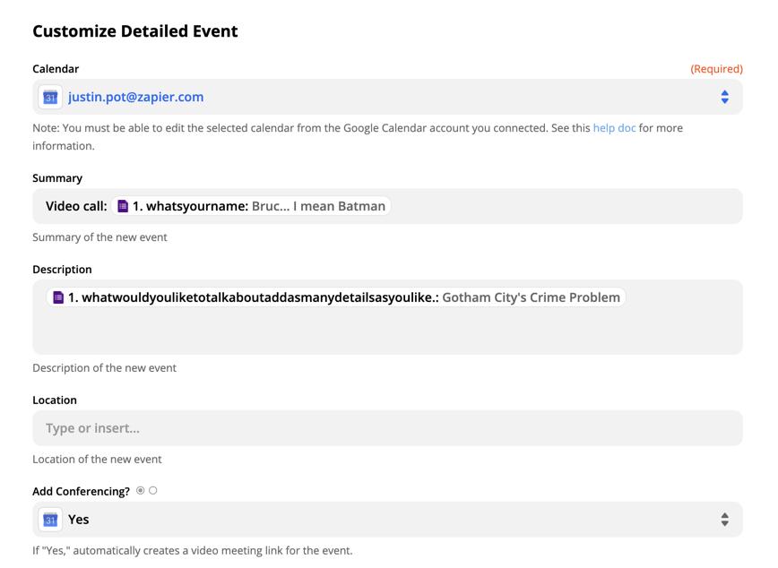 Setting up a detailed calendar event in Google Calendar in Zapier