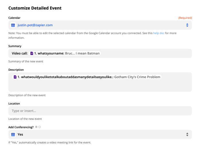 Setting up a detailed calendar event in Google Calendar in Zapier
