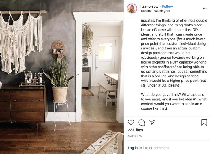 Instagram post where Liz Morrow asks her followers for ideas