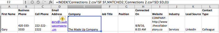 Your Excel formula and sheet should look like this.