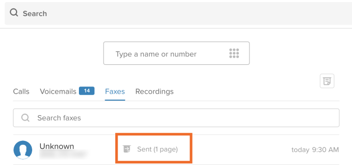 Outgoing fax status in RingCentral