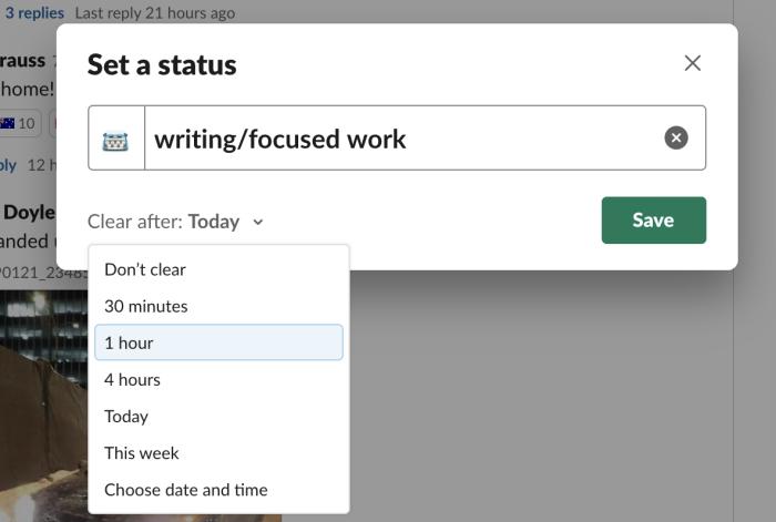 Slack status details