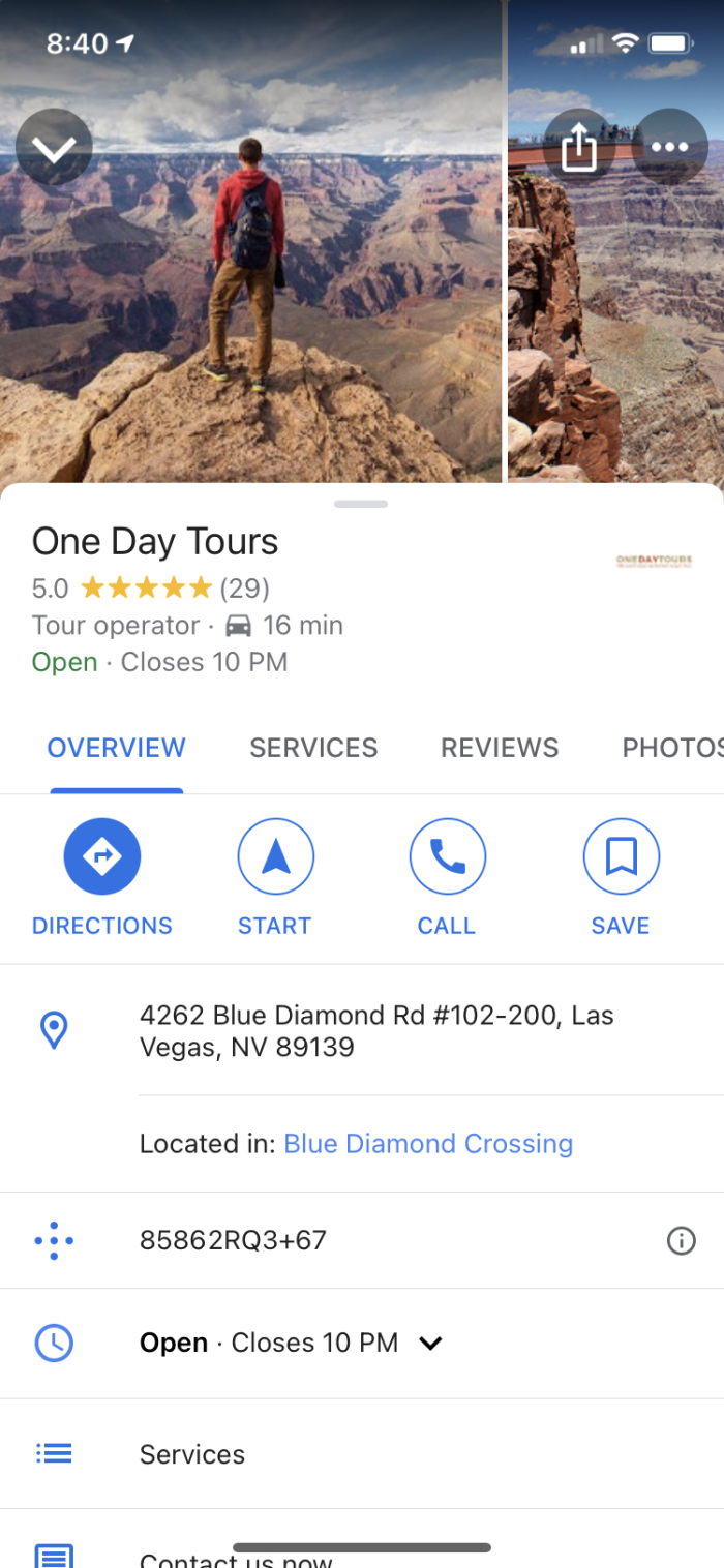 The One Day Tours GMB listing on mobile
