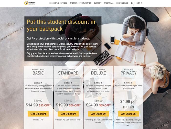 Norton Antivirus student discount landing page