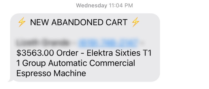 """SMS message about """"NEW ABANDONED CART"""""""