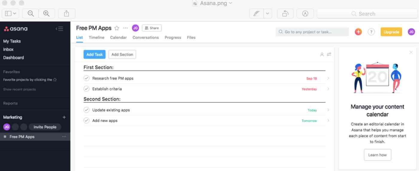 Asana interface