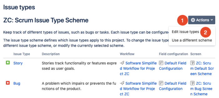 add new issue types to projects in Jira