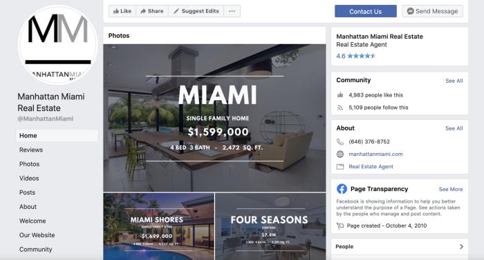 Manhattan Miami's Facebook page