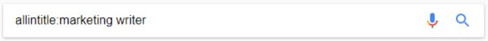 Google search for allintitle:marketing writer