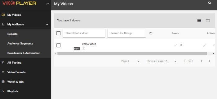 vooPlayer video hosting interface