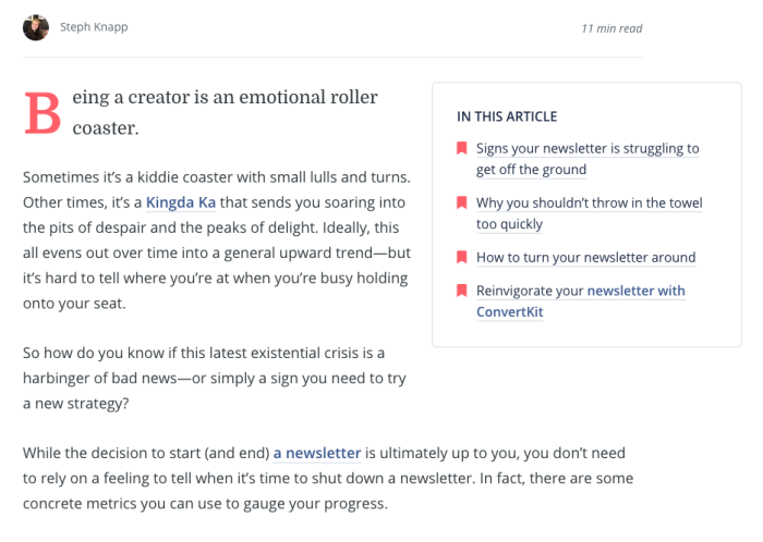 A jump ahead section on a site article